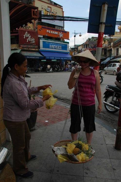 Hanoi - Jen as a fruit seller