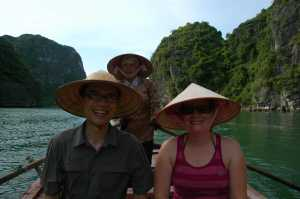 Halong Bay - Jen and Jeff in Hats