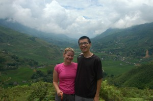 Sapa - Jen and Jeff with Terraced Rice Paddies
