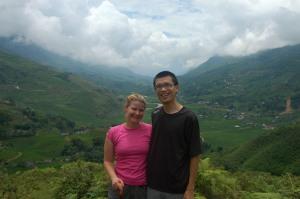 Sapa - Jen and Jeff with Terraced Rice Paddies
